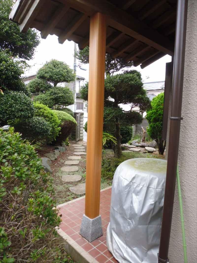 玄関ポーチ柱交換&軒天修理